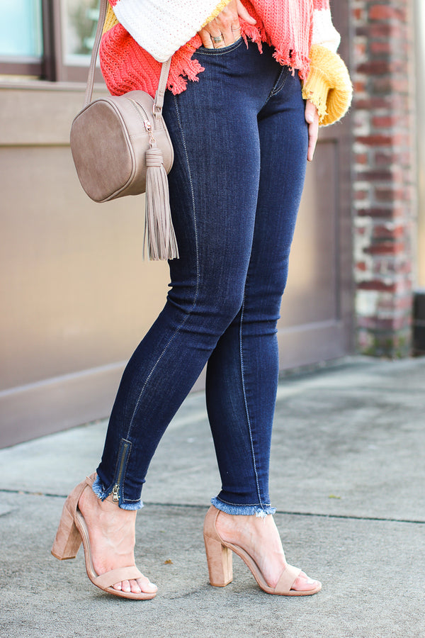 1/24 / Dark Wash Grayson Zipper Detail Skinny Jeans - Dark Wash - FINAL SALE - Madison and Mallory