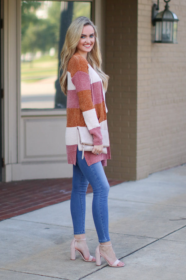 Wind Down Chenille Striped Cardigan - Madison + Mallory