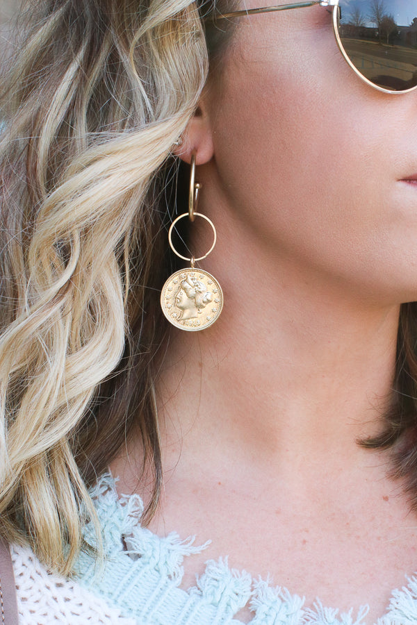 OS / Gold Lucky Break Coin Hoop Earrings - Madison + Mallory
