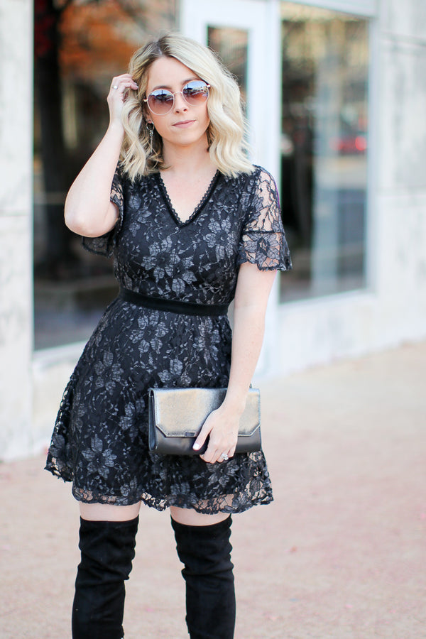 S / Black Vicky Floral Lace Dress - Madison + Mallory