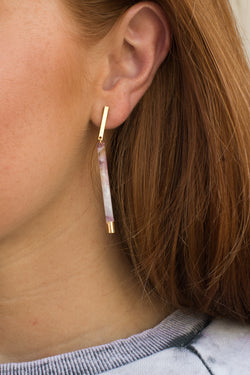 OS / Pink/Gold Bar and Away Earrings - Madison + Mallory