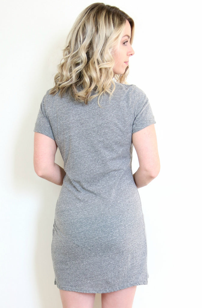 Gray Cut-Out T-Shirt Dress