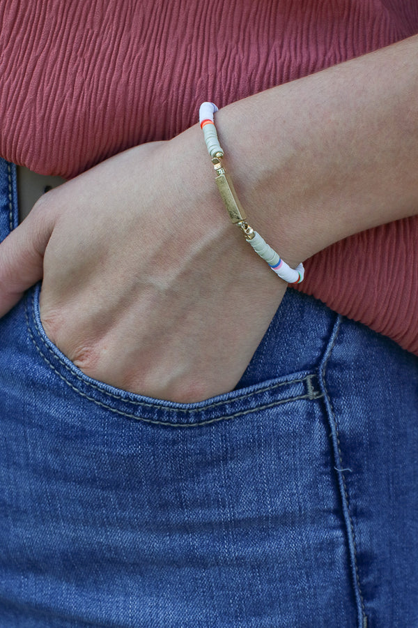 White All Star Beaded Bracelet - Madison + Mallory