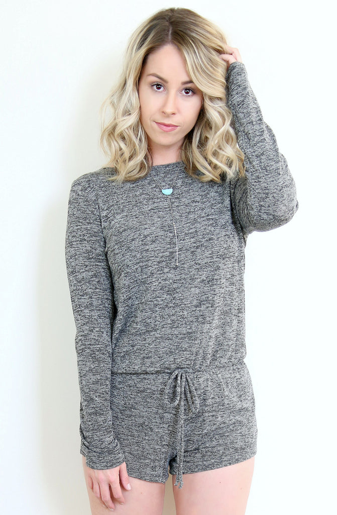 S / Dark Gray Long Sleeve Cut-Out Romper - Madison + Mallory