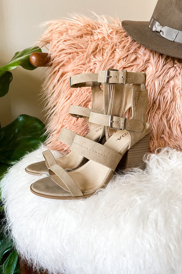 Camel / 5.5 Metropolitan Buckle Detail Stacked Heels - Camel - Madison and Mallory