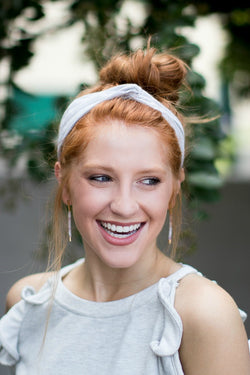 OS / Gray Striped Stitch Twist Headband - Madison + Mallory