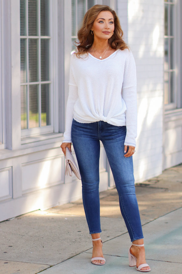 Josiah Twist Front Top - White - Madison + Mallory