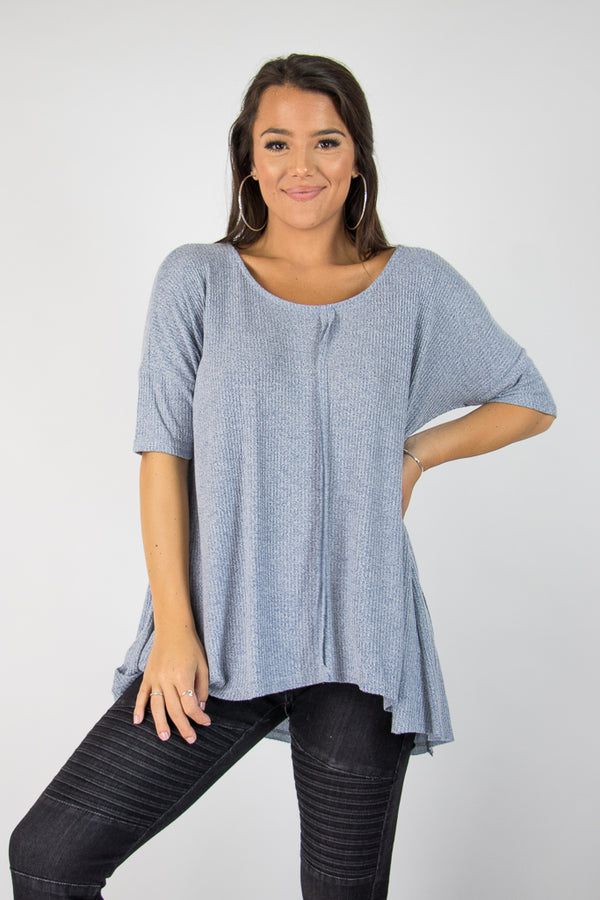 S / Blue Bethany Knit Top - Madison + Mallory