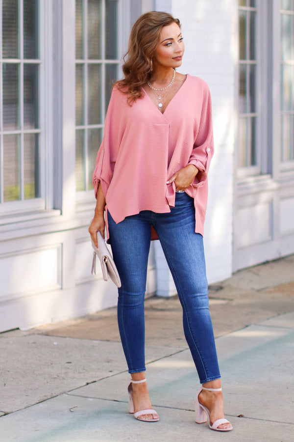 Janson V-Neck Pleated Blouse - Salmon - Madison + Mallory