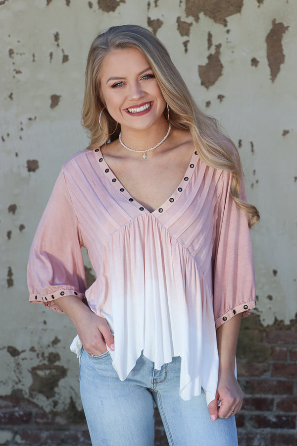 S / Ivory Dip Dye Eyelet Top - Madison + Mallory