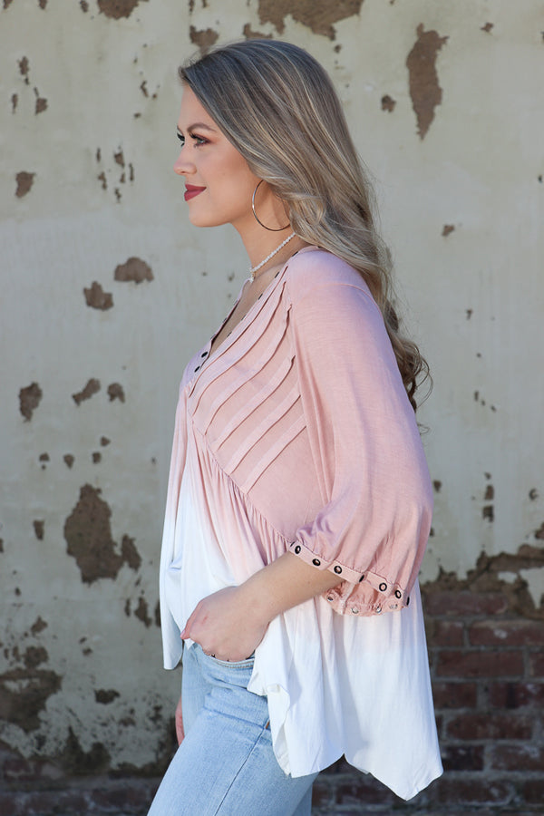 Dip Dye Eyelet Top - Madison + Mallory