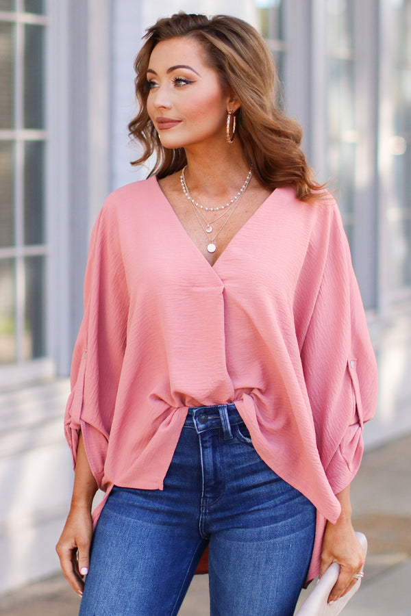 Salmon / S Janson V-Neck Pleated Blouse - Salmon - Madison + Mallory