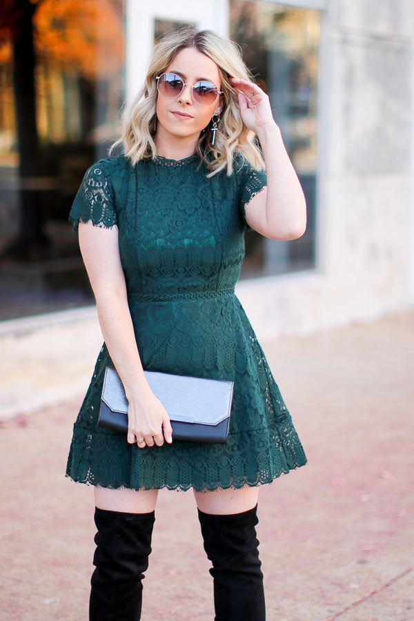 S / Green Taken by You Lace Dress - Madison + Mallory