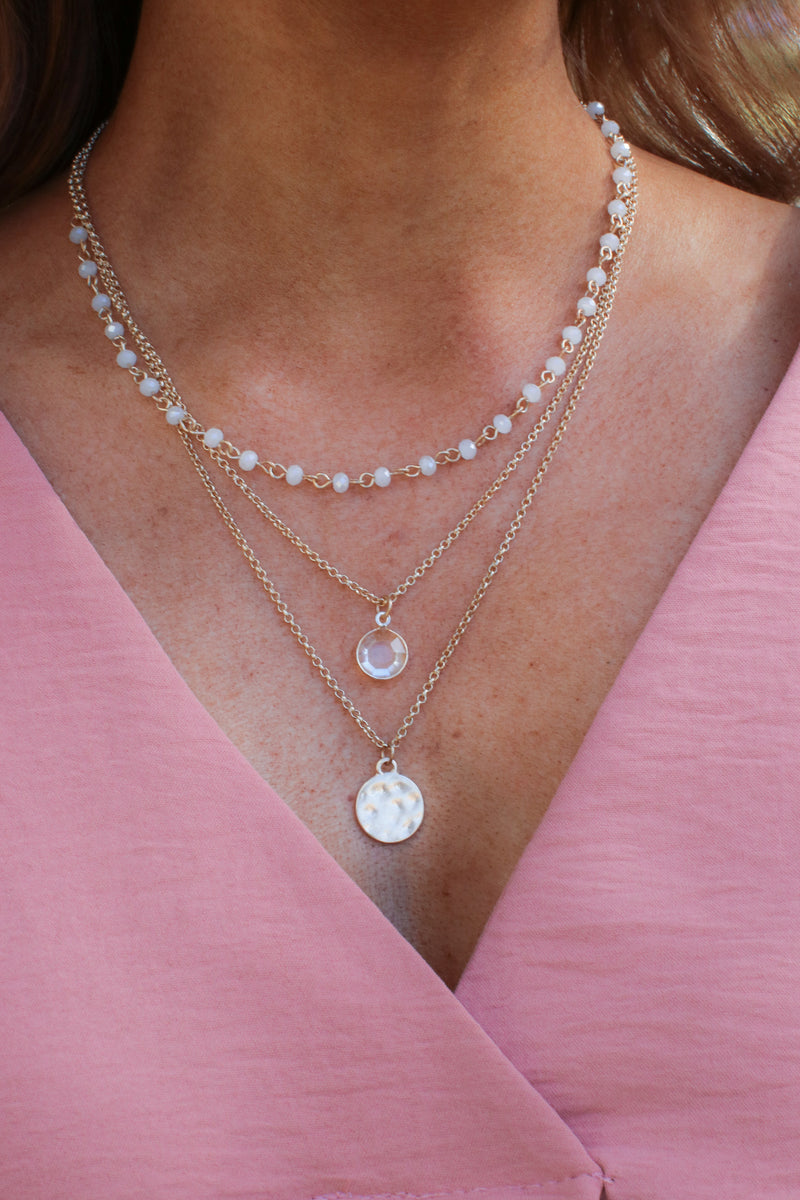 White Aiyana Layered Necklace - Madison and Mallory