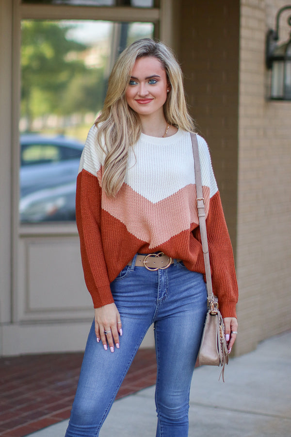 SM / Rust Perfect Target Chevron Knit Sweater - Madison + Mallory