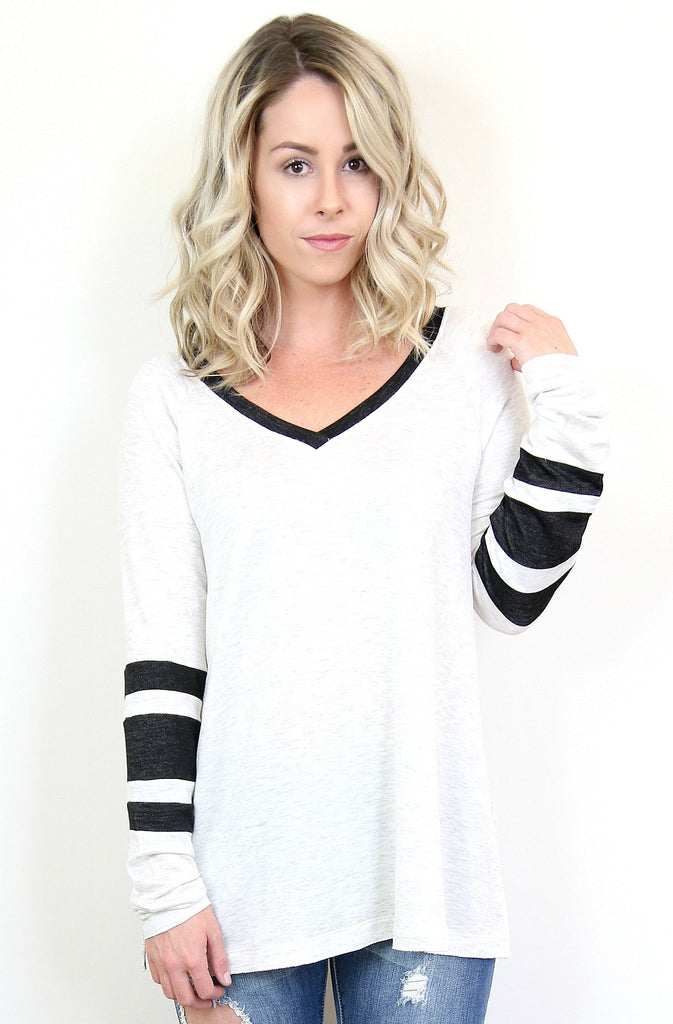 Varsity V-Neck Long Sleeve Top
