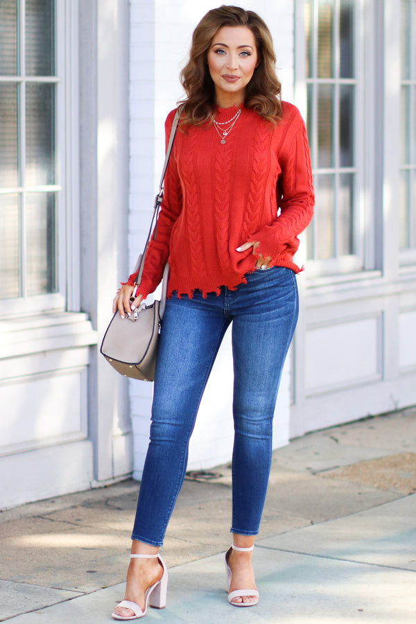 Law Bender Cable Knit Sweater - Tomato- FINAL SALE - Madison and Mallory
