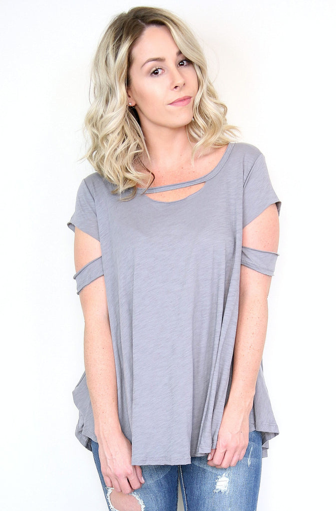 Gray Cold Shoulder Distressed Knit Top