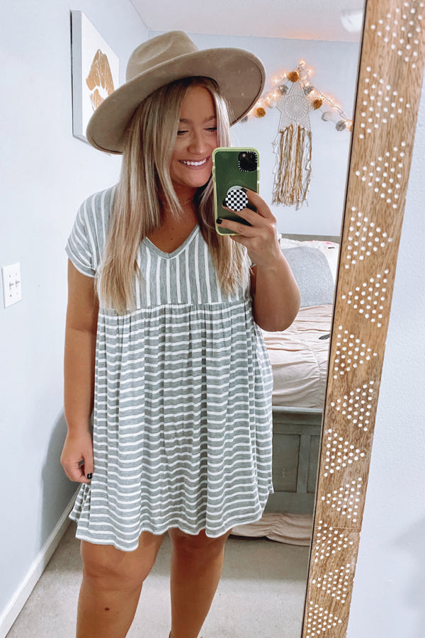 Heather Gray / S Boardwalk Stroll Striped V-Neck Dress - Heather Gray - Madison and Mallory