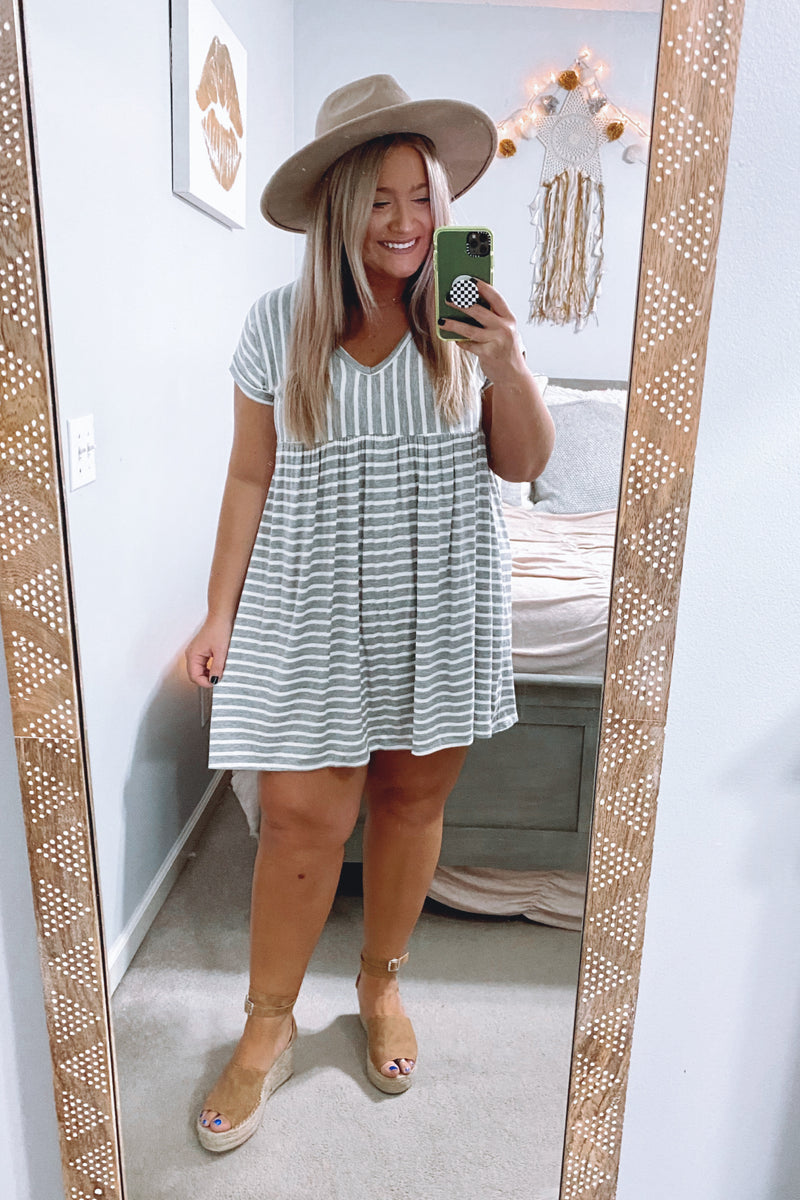 Boardwalk Stroll Striped V-Neck Dress - Heather Gray - Madison and Mallory