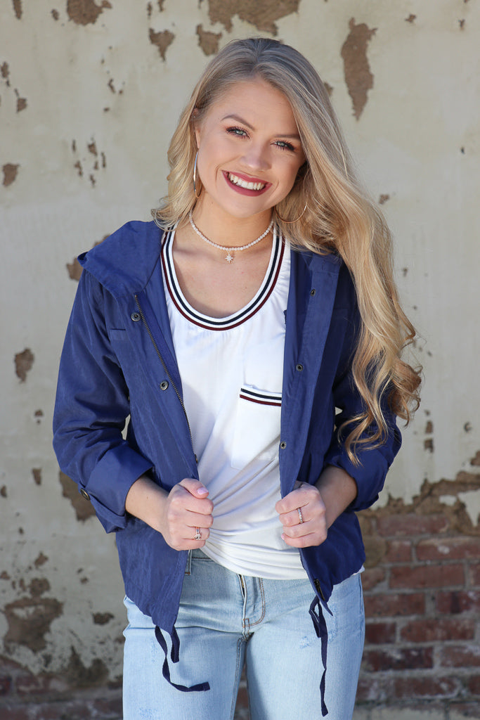 S / Navy Drawstring Utility Jacket - Madison + Mallory