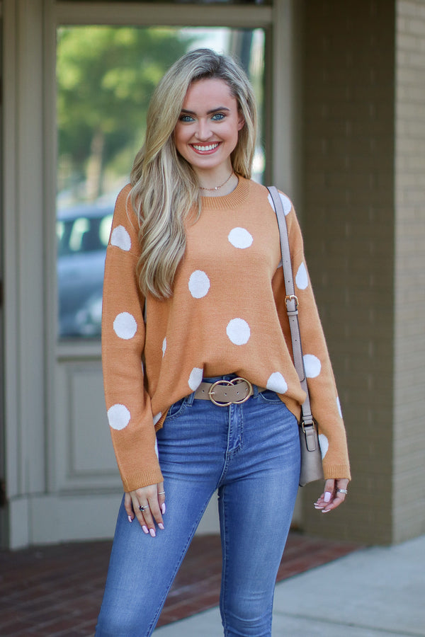 S / Marigold Perfect in Polka Dots Sweater | S-3X - Madison + Mallory