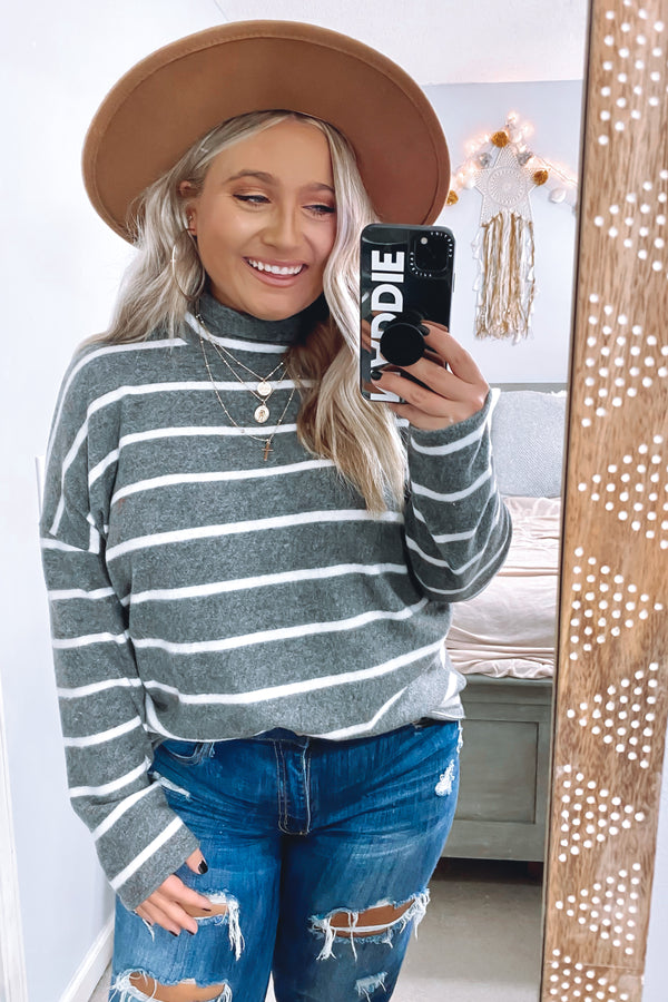 S / Gray Stevi Striped Hacci Top - Madison and Mallory