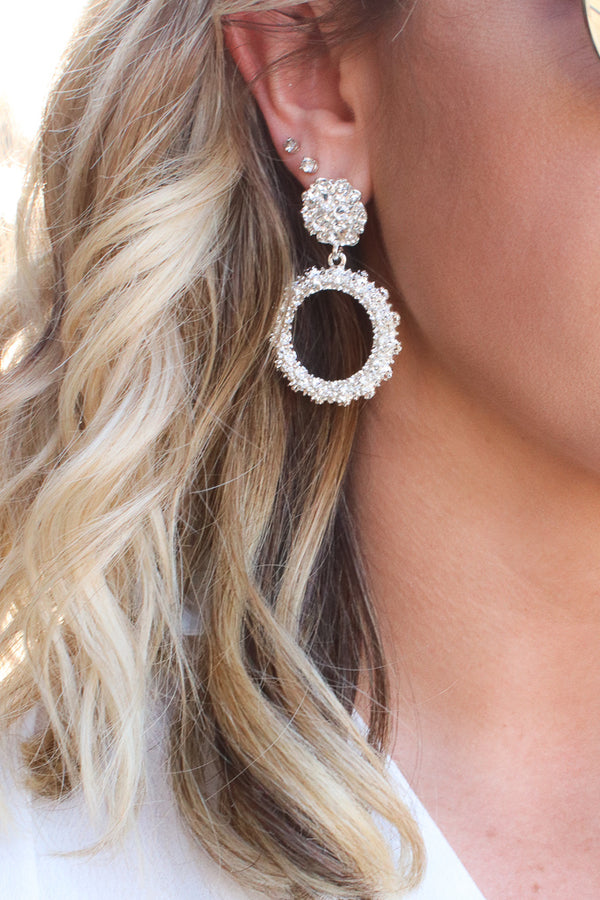 OS / Silver Fantasizing Textured Hoop Drop Earrings + MORE COLORS - Madison + Mallory
