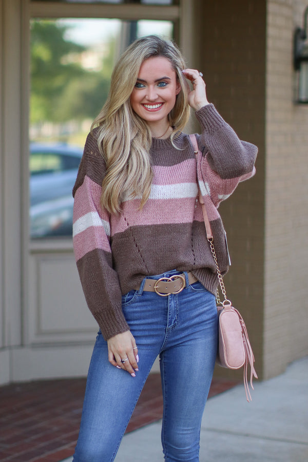 SM / Mocha Simply Wishing Color Block Striped Sweater - Madison + Mallory