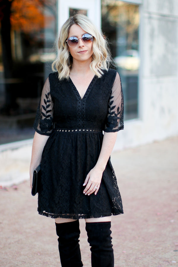 M / Black Only For You Crochet Lace Dress - Madison + Mallory