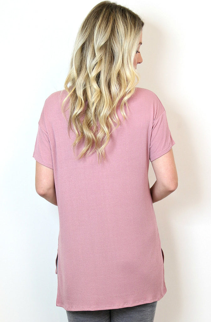 Hi-Low Cut Out Neckline Top