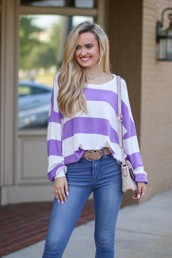 S / Lavender Casual Crush Striped Pullover - Madison + Mallory