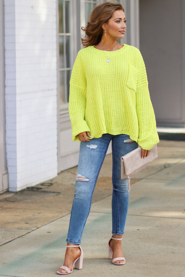 Devan Pocket Front Knit Sweater - Lime - Madison + Mallory