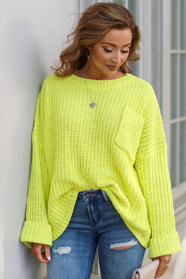 Lime / SM Devan Pocket Front Knit Sweater - Lime - Madison and Mallory