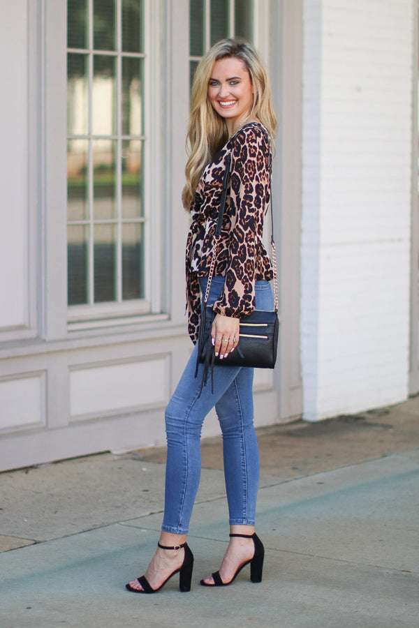 Keen on You Leopard Tie Top - Madison + Mallory