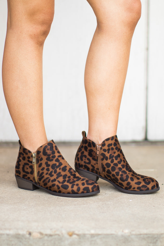 6 / Leopard Leopard Booties - Madison + Mallory