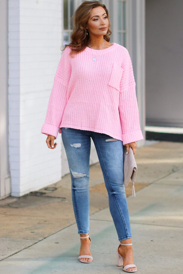 Devan Pocket Front Knit Sweater - Pink - Madison + Mallory