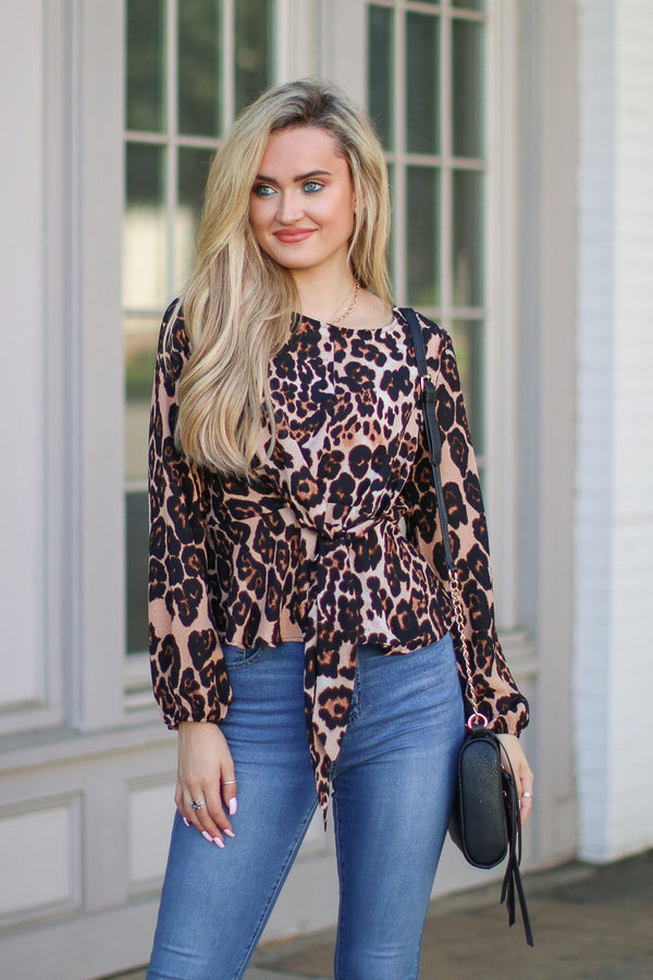 S / Brown Keen on You Leopard Tie Top - Madison + Mallory