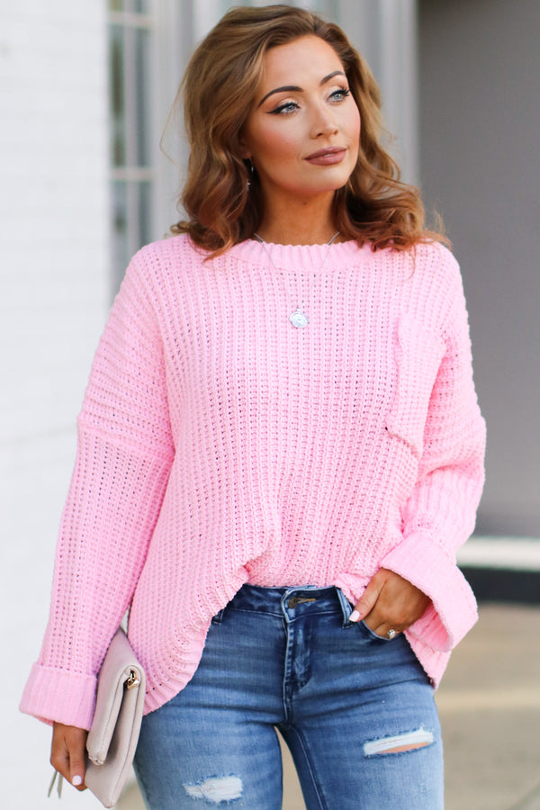 Pink / SM Devan Pocket Front Knit Sweater - Pink - Madison + Mallory