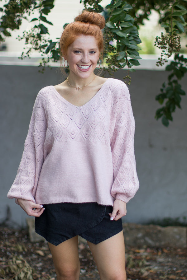 SM / Blush Beverly Eyelet Knit Sweater - Madison + Mallory