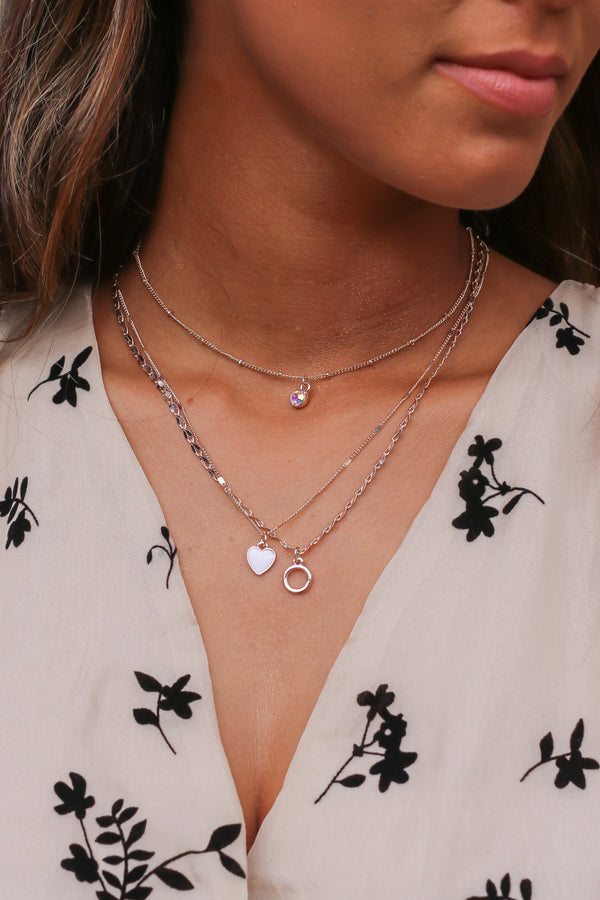 Rose Gold Sworn Lover Heart Charm Layered Necklace - Madison and Mallory