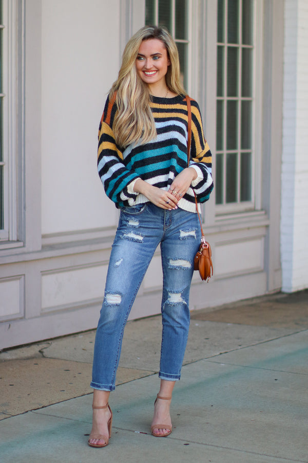 Intuition Multi Color Striped Sweater - Madison + Mallory