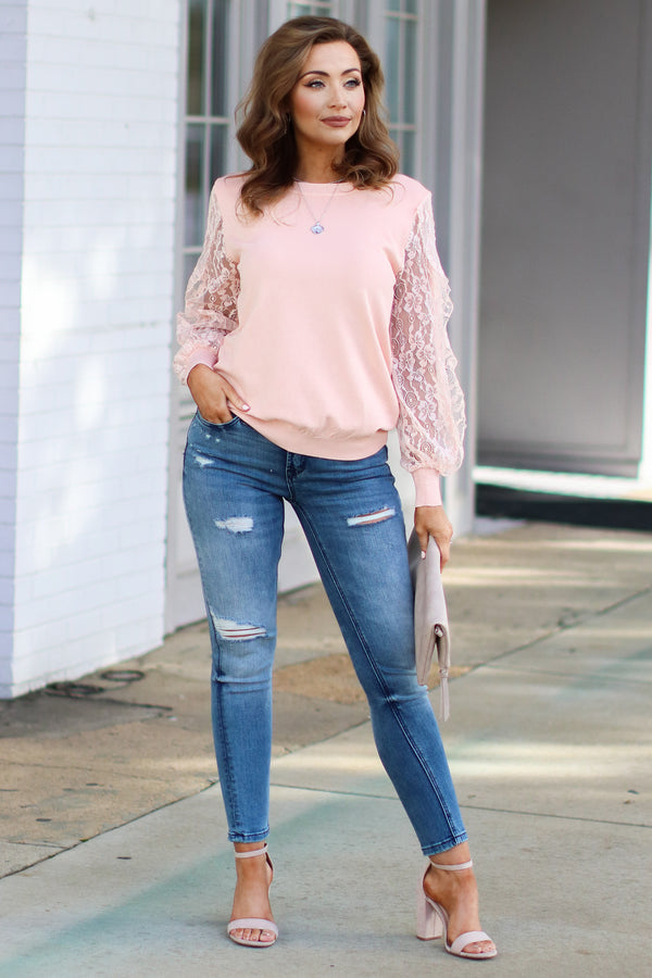 Townhouse Lace Sleeve Top - Pale Peach - Madison + Mallory