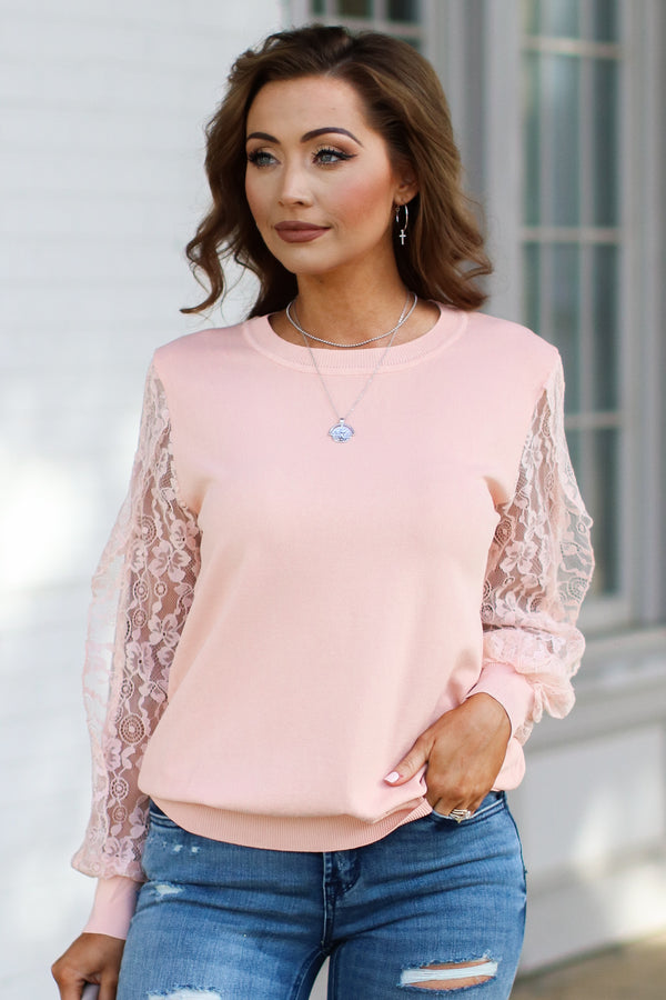 Pale Peach / S Townhouse Lace Sleeve Top - Pale Peach - Madison + Mallory