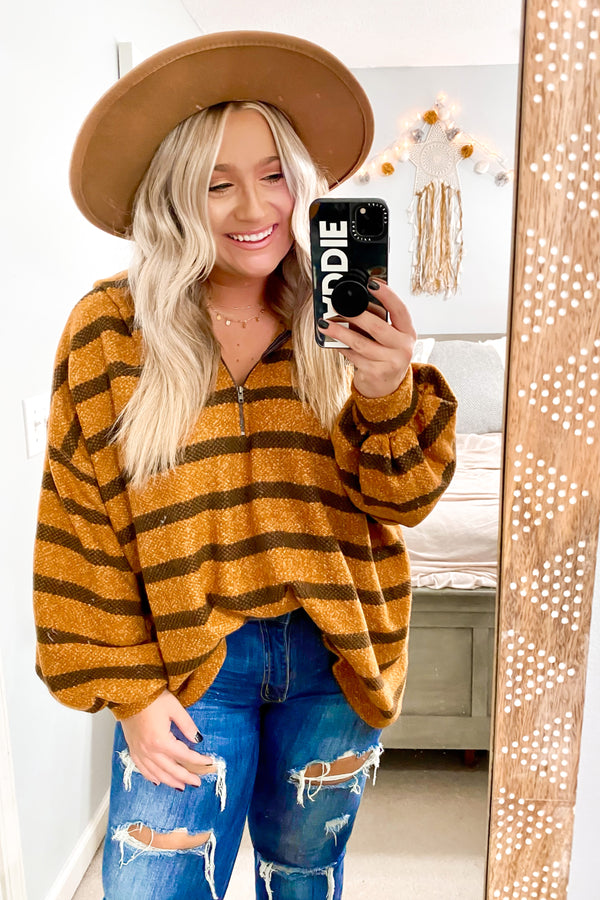 S / Mustard Charter Relaxed Striped Hooded Top - Madison and Mallory