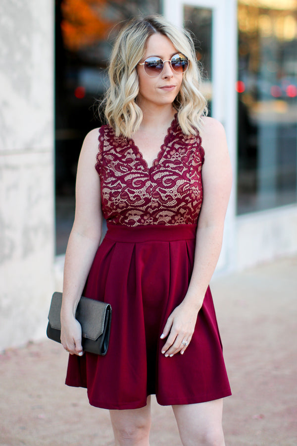 S / Burgundy Shock to the Heart Lace Dress - Madison + Mallory