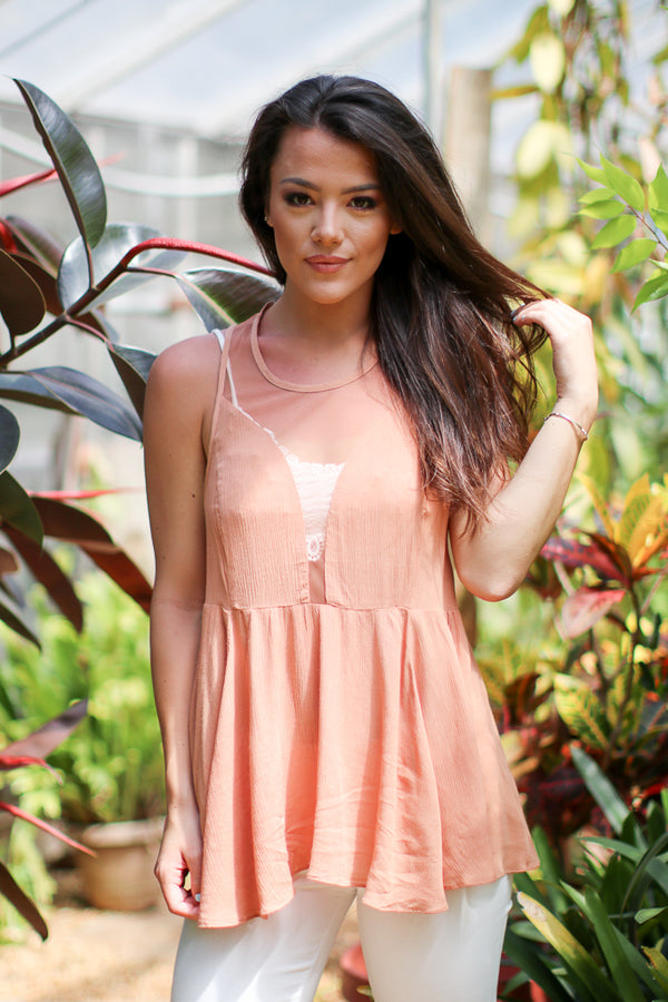 S / Peach Hazy Mesh Top - Madison + Mallory