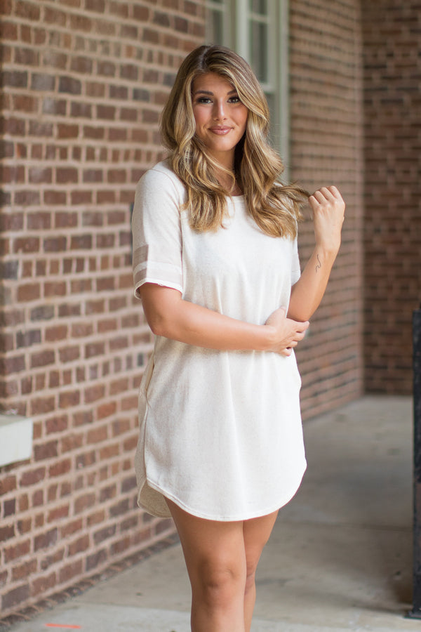 S / Cream Varsity Dress - Madison + Mallory