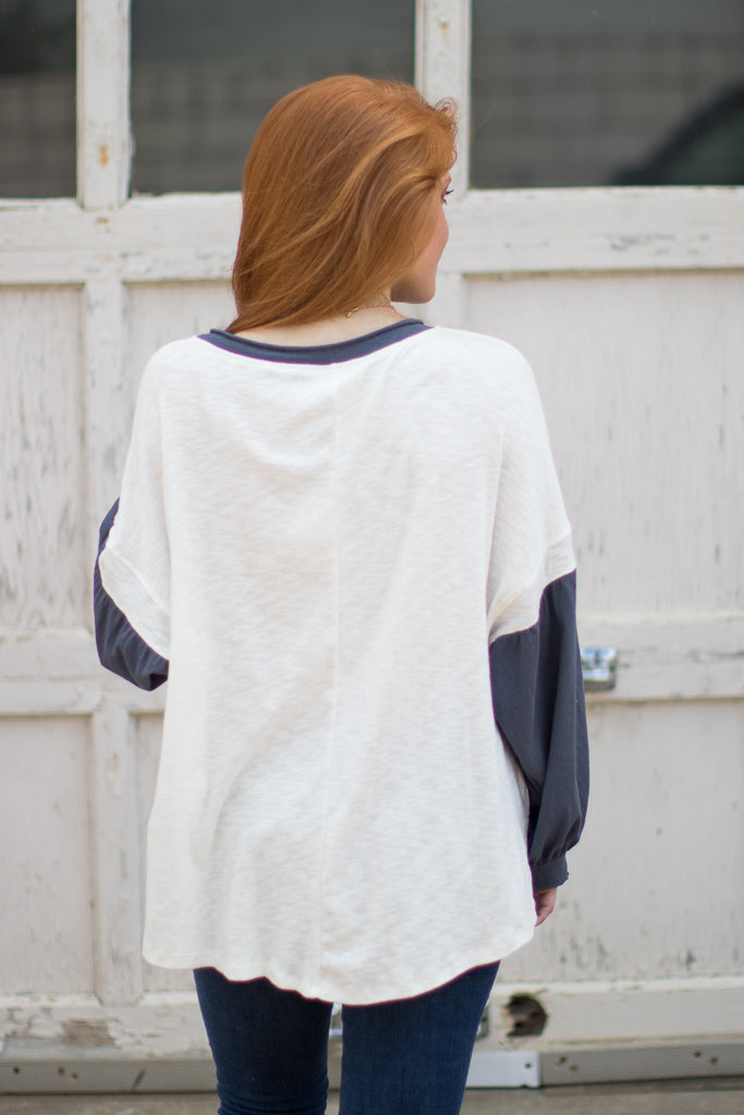 Get Going Mixed Sleeve Top - Madison + Mallory