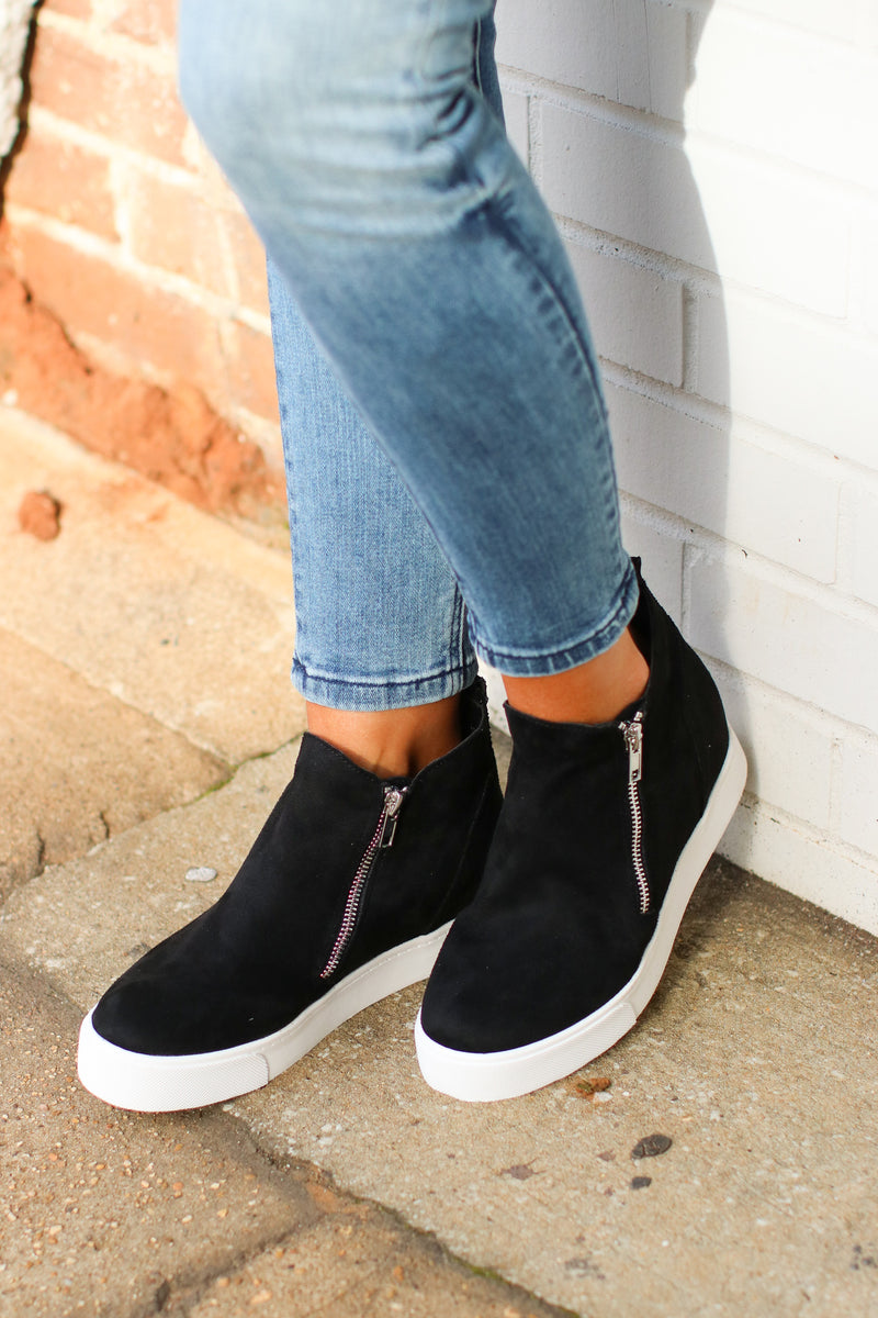 5.5 / Black Follow the Beat Wedge Sneakers - Black - Madison and Mallory